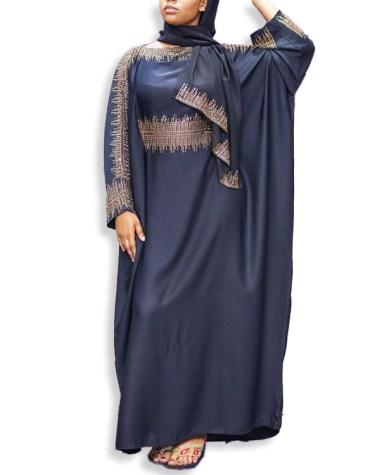 African Elegant Golden Stone Beaded Fancy Dubai Kaftan Dresses for Women's Party