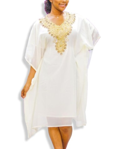 Elegant Beaded Embellished Evening Party Wear Tunic Chiffon Dress