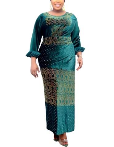 Unique Super Elegant African Party Wear Velvet Kaftan Golden Beaded Work For Women