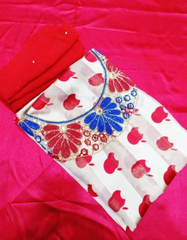 Trendy Apple Printed Multi Color Beaded Satin Silk Dress Material For Women