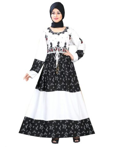 Latest Leaf Printed Embroidered Rayon Women Long Dress Stitched Gown