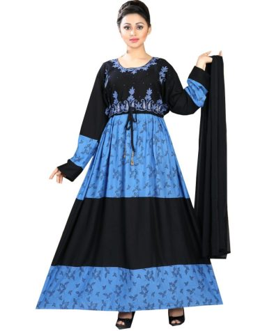 Rayon Dual Color Printed Embroidered Women Long Dress Stitched Gown
