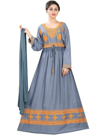 Latest Beautiful Rayon Gown Embroidered Women Long Dress Stitched Gown
