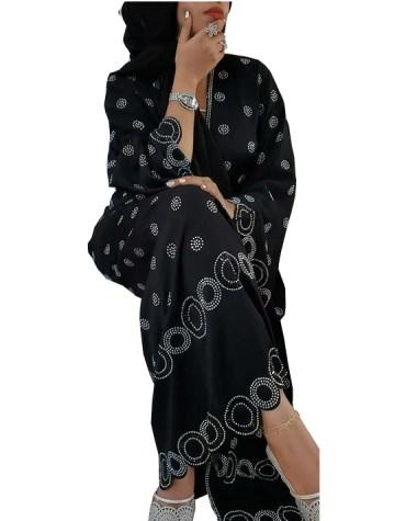 Classic Round Floral Rhinestone Soft Nida Fabric Trendy Dubai Abaya For Women