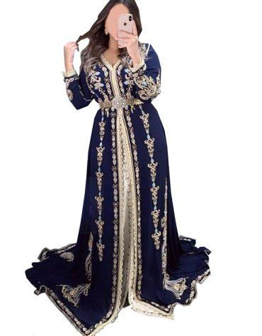 Elegant Royal Satin Silk Heavy Golden Embroidery Full Sleeves Dress For Women