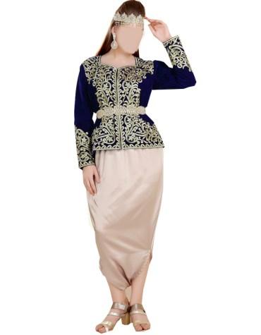 Elegant Riche Golden Beaded Embellished Royal Wear Velvet Tunic