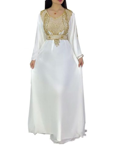 New Arrival Royal Satin Silk Floral Embroidery Evening Gown For Women