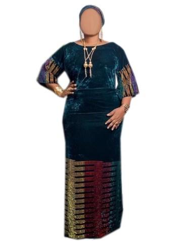 African Party Wear Velvet Dress Multi color Rhinestone Beaded Work For Women
