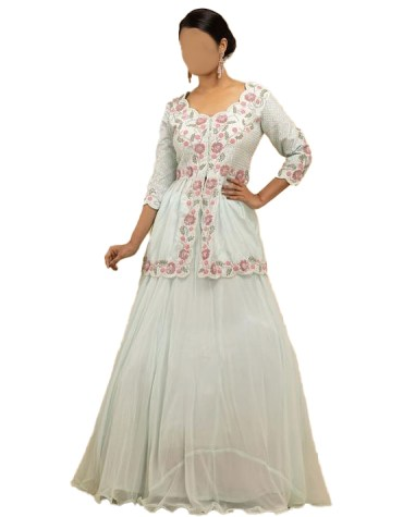 New Stylish Indian 2 Piece Skirt Style Beautiful Floral Lace Work Dress For Women