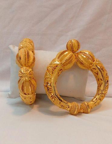 Trendy African Designer Fine Finish 2 Gram Gold Bangle Set For Women