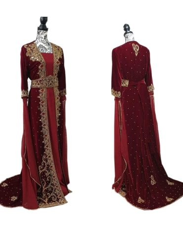 Rich Velvet Heavy Embroidery Wedding Dress Gowns For Women