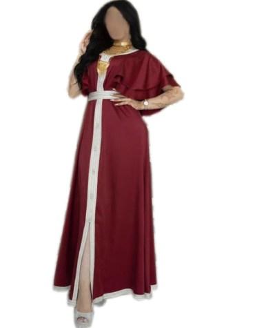 Latest Half Flared Sleeves New Designer Front Slit Satin Dress For Women