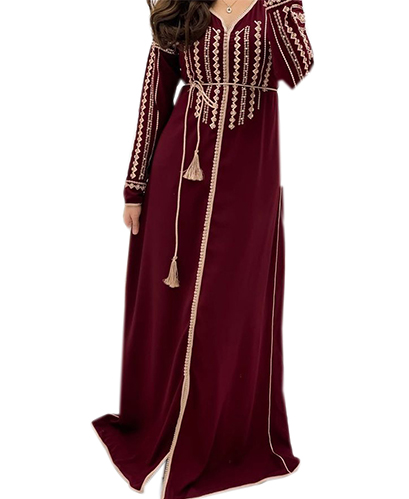 New Classy Moroccan Embroidered Long Sleeves Kaftan For Women