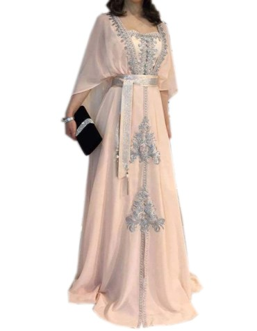 Latest Cape Style Sleeves Gown Silver Stone work Dress For Women