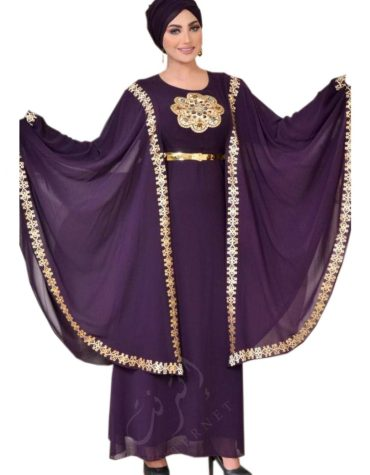 Latest Stylish Cape Style Golden Embroidered Dress for Women
