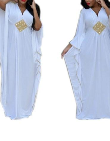 African Farasa Dress Golden Beaded Lycra Kaftan for Women
