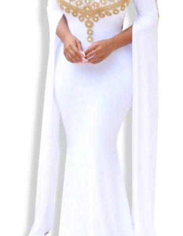 Embellished Beaded African Fancy Dresses Gown Long Open Sleeves Spandex Kaftan