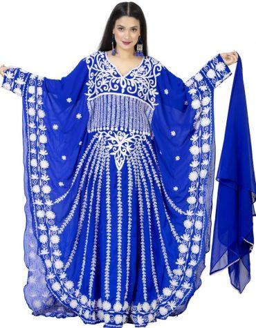 African Attire White Embroidery Beaded Elegant Dubai Chiffon Kaftan for Women
