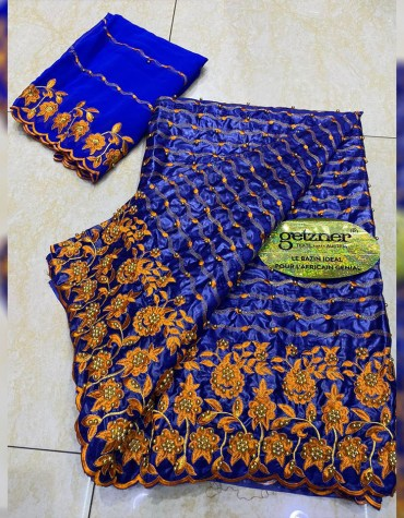 100% Super Magnum Getzner Rich Embroidered Bazin Dress Material For Women