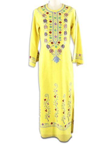African Summer Style Embroidered Chiffon Light Weight Kurti Dress For Women