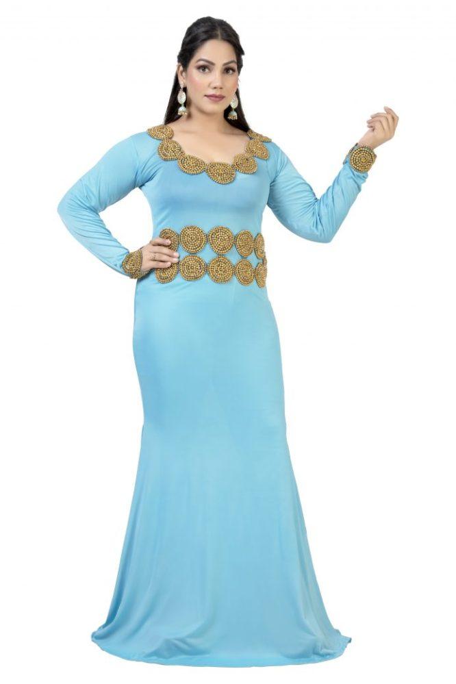 Trendy Moroccon Beaded Lycra Kaftan Fancy Exotic Evening Wear for Women