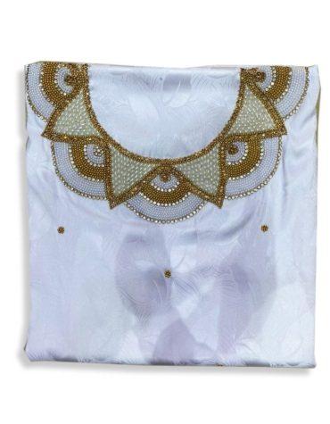 Arabian Printed Satin Silk With Dual Color Beading Dress Material For Women