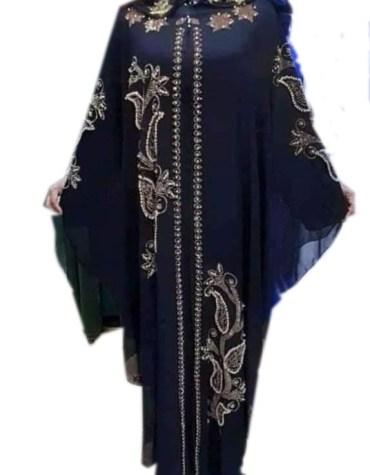 Latest Golden Rhinestone Moroccan Beads Farasa Work Kaftan
