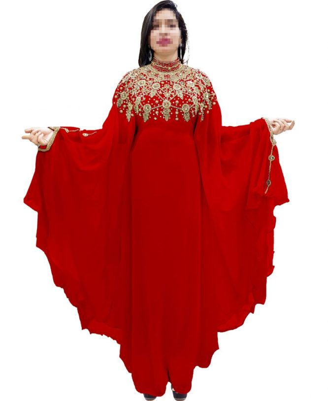 Latest Designer Sleeve Beaded African Chiffon Farasa For Women