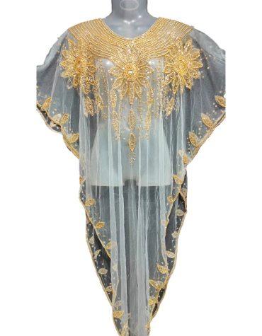 Designer Crystal Beaded Net Poncho Wear Plus Size Dress for Women