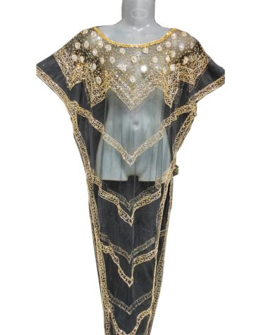 Golden Embroidered & Beaded Net Poncho Plus Size Dress for Women