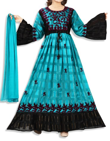 African Attire Designer Satin And Swiss Voile Cotton Mix Embroidered Long Kaftan Gown For Women