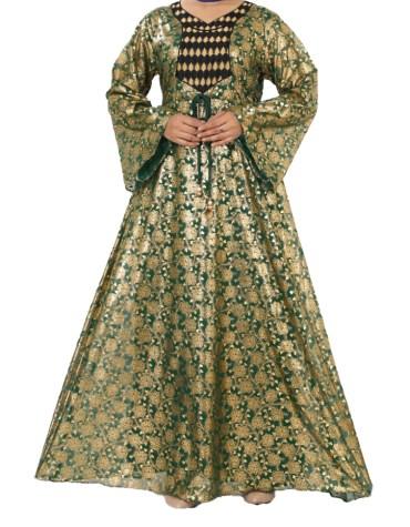 Latest Golden Print Designer Dubai Abaya Dress For Women
