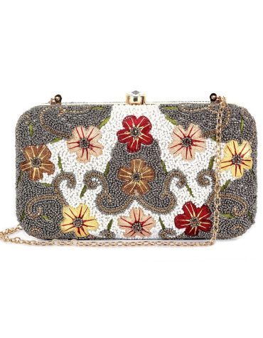Party Clutch Bag with Fashionable Beads & Floral Embroidered Work For Women