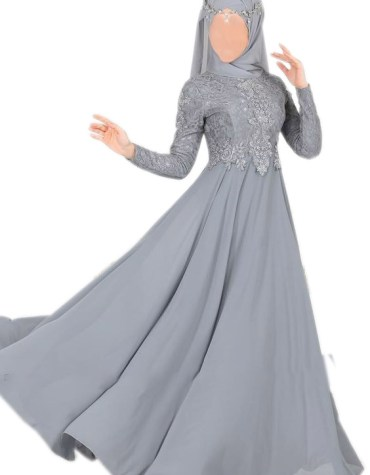 Chiffon Muslim Dress Fancy Embroidered Lace Work For Women