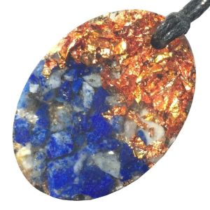 Orgonite Mini Oval Pendant Necklace containing Lapis Lazuli and Copper Starburst Leaf