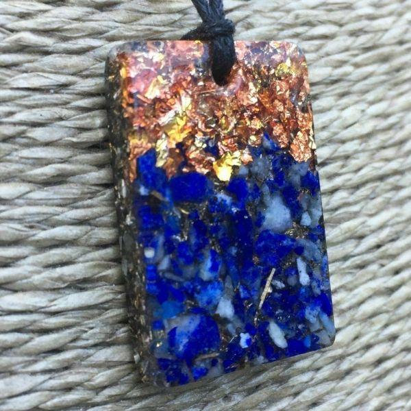 Orgonite Mini Rectangular Pendant Necklace containing Lapis Lazuli and Copper Starburst Leaf