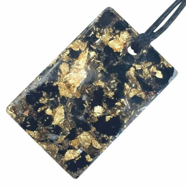 Orgonite Mini Rectangular Pendant Necklace contining Black Tourmaline and Imitation Gold Leaf