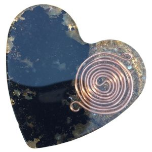 Orgonite Large Heart with Black Tourmaline, Labradorite and SBB Coil