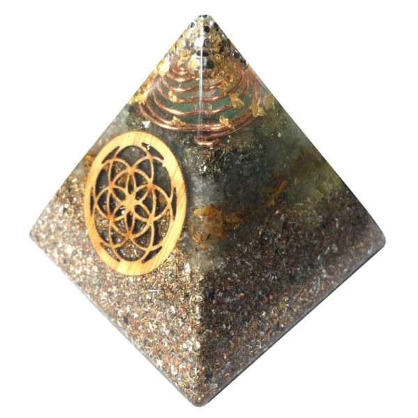 Orgonite Pyramid with a crystal composition designed for manifesting abundance. Stainless Steel Metal Balls, Copper SBB Coil, Imitation Gold Leaf, Green Aventurine, Pyrite, Yellow Tigers Eye, Lepidolite, Shungite along with a Bamboo Seed Of Life.