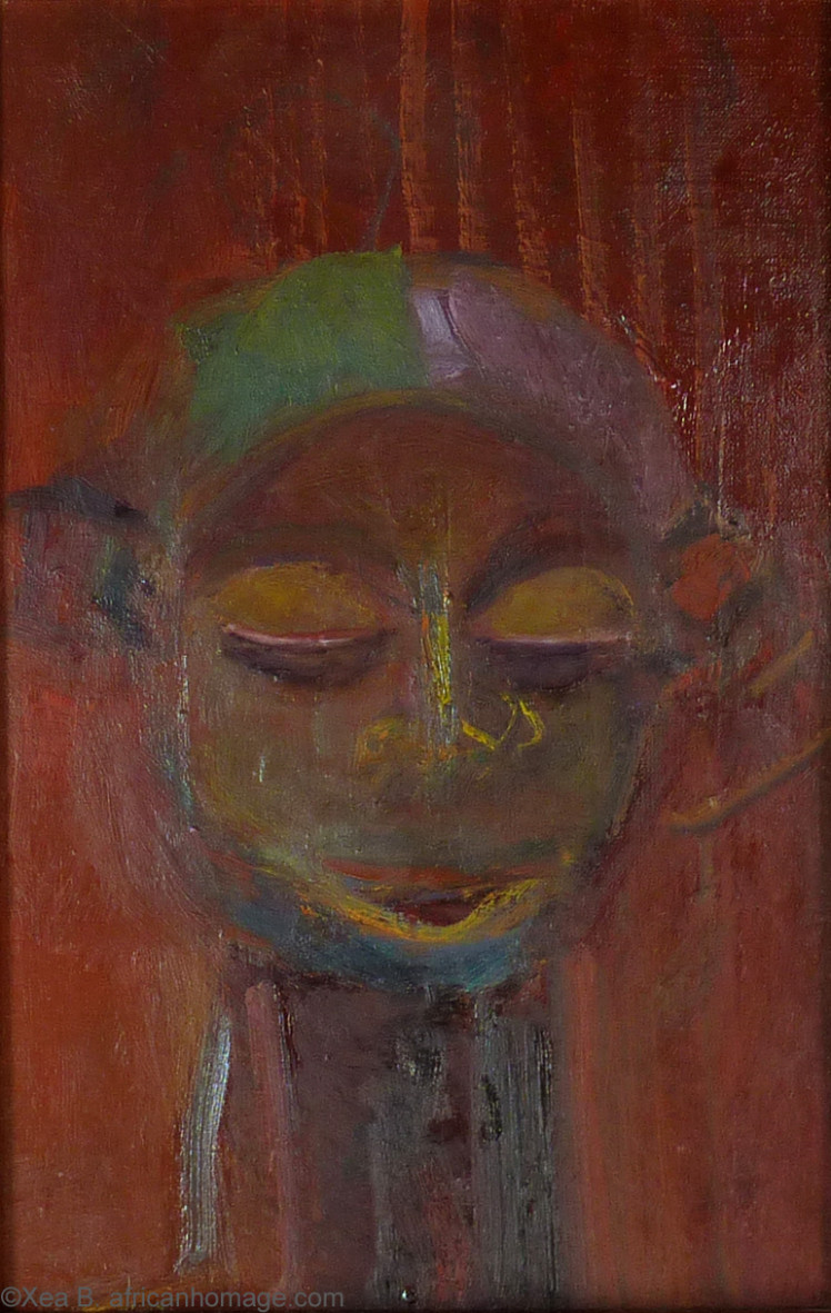 Painting, Xea B. , oil on canvas, Yaka, African symbolic portrait