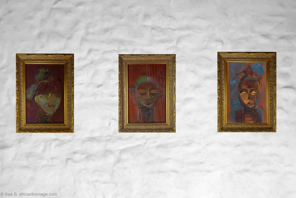 African Symbolic Portraits - painting by Xea B. - Ambete, Yaka, Hemba, framed, on a wall.
