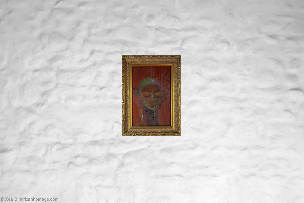 Painting, Xea B. , oil on canvas, Yaka, African symbolic portrait, framed, on a wall.