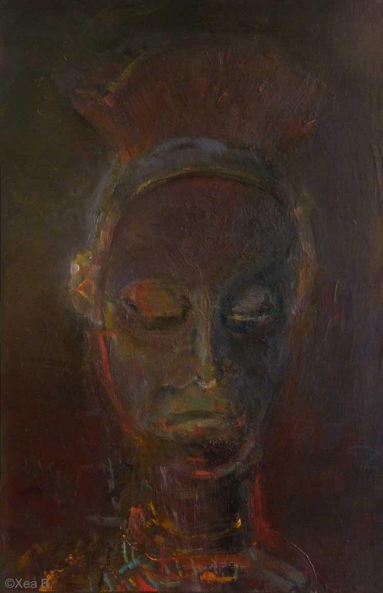 African Symbolic Portrait, painting, Bayaka, unframed, Xea B.