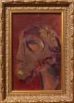 African Symbolic Portrait - painting by Xea B. - framed painting