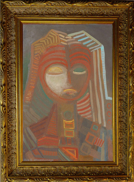 Fang's chant, Painting, framed, African symbolic portrait, art, Fang, Xea B.