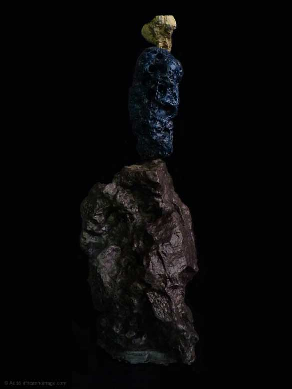 The Philosopher's  Rock, Painted Sculpture, sculptor Addé, African Homage