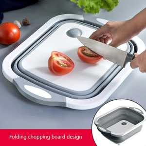 (3 in 1) Collapsible Basket With Drain And Chopping Board.