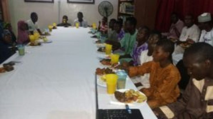 A cross section of Almajiri and orphan children at the iftar dinner