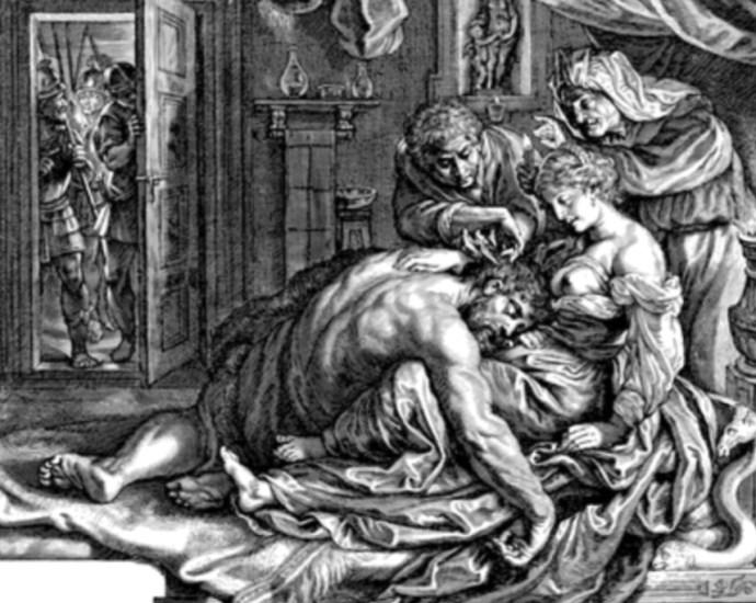 Delilah cutting the hair of Samson
