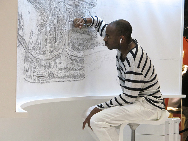 Stephen Wiltshire draws cityscape out of memory